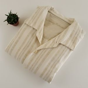 Tommy Bahama Mens XXL Tan Casual Wool Silk Shirt
